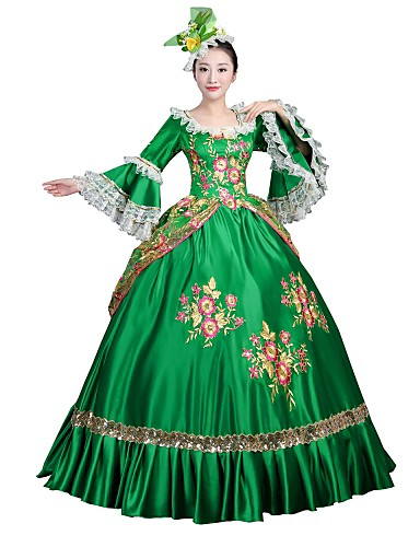 cheap Historical & Vintage Costumes-Marie Antoinette Rococo Victorian 18th Century Dress Party Costume Masquerade Women's Costume Green Vintage Cosplay Lace Satin Party Prom Long Sleeve Floor Length Ball Gown / Floral