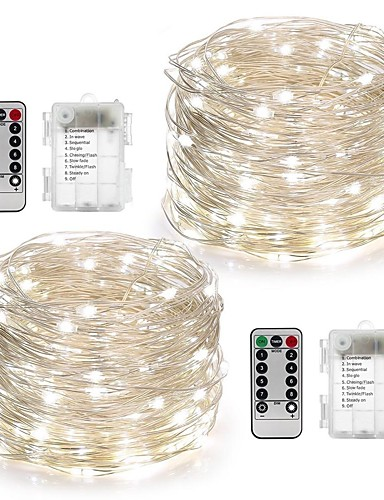 billige Holiday Decoration Light-10 m Lysslynger 100 LED Varm hvit / Hvit / Multifarget Vanntett / Fjernkontroll / Mulighet for demping Batteri / IP65 / Fargeskiftende