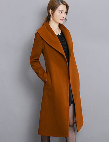 Women's Going out Plus Size Coat - Solid Colored