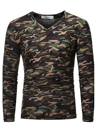 cheap Men's Tees & Tank Tops-Men's Daily Weekend Military Plus Size Cotton Slim T-shirt - Camo / Camouflage V Neck Brown XL / Long Sleeve / Fall