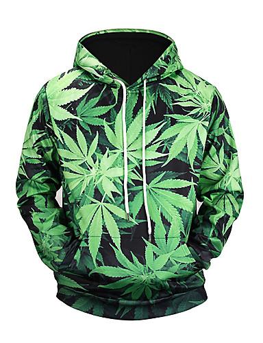 6416b3c28edc Men s Long Sleeve Hoodie - 3D Print Hooded Green XL   Fall