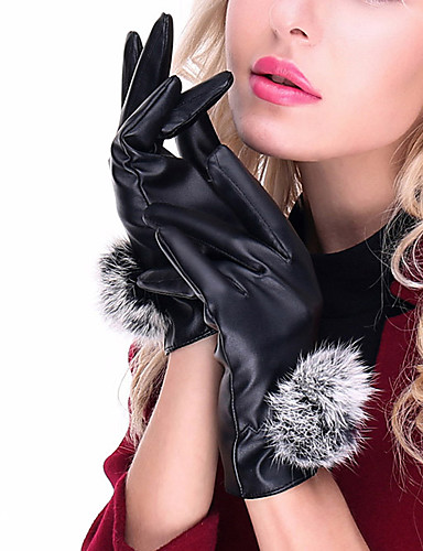 Women's Pure Accessories Winter Gloves Windproof Keep Warm Waterproof Fashion PU Wrist Length Fingertips Gloves - Solid Colored