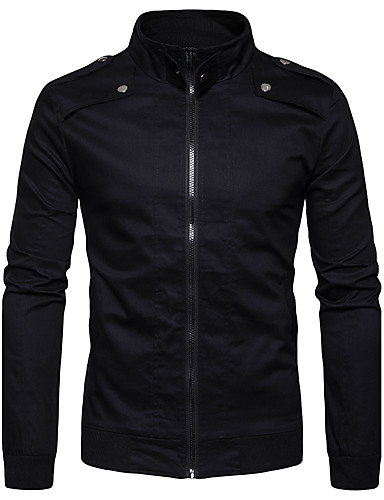 Men's Street chic Jacket-Solid Colored Stand