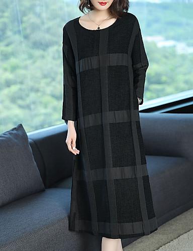abordables Robes Femme-Femme Grandes Tailles Midi Ample Courte Robe - Imprimé, Damier Noir Printemps Automne Noir XL XXL XXXL Coton Manches Longues