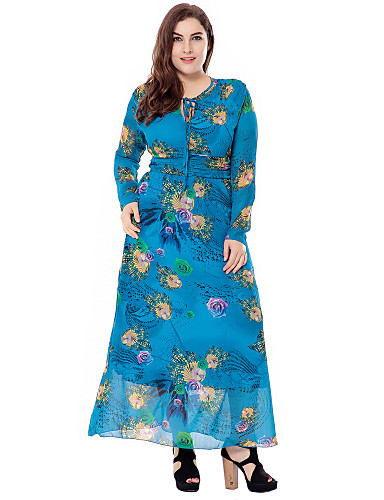 Women's Plus Size Going out Sophisticated Loose Sheath Swing Dress - Floral Cut Out High Rise Maxi
