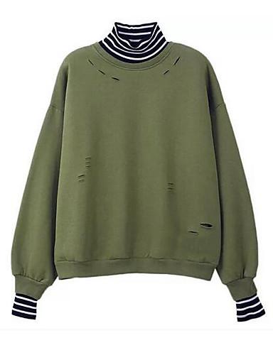 Damen Pullover Lässig/Alltäglich Gestreift Baumwolle Polyester