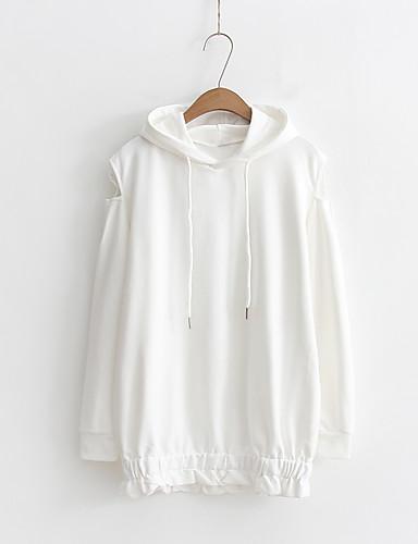 Damen Kapuzenshirt Ausgehen Lässig/Alltäglich Niedlich Aktiv Solide Mikro-elastisch Baumwolle
