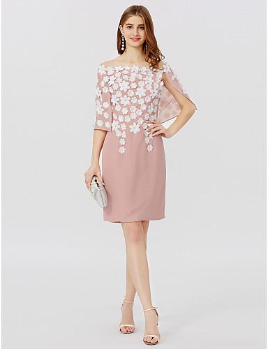 Ołówkowa / Kolumnowa Z odsłoniętymi ramionami Krótka / Mini Szyfon Spotkanie towarzyskie Sukienka z Plisy Kwiat przez TS Couture®