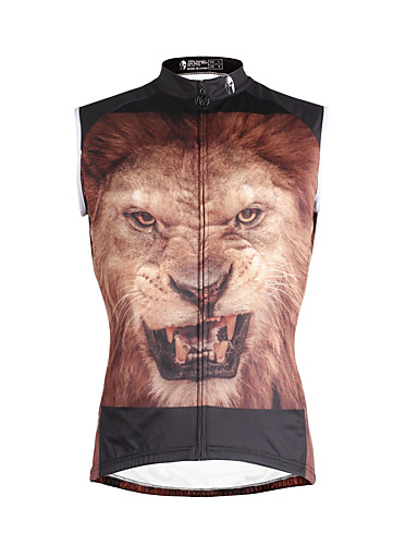 cheap Cycling Clothing-ILPALADINO Men's Sleeveless Cycling Jersey - Coffee Lion Bike Vest / Gilet Jersey Tank Top Quick Dry Sports Eco-friendly Polyester 100% Polyester Mountain Bike MTB Road Bike Cycling Clothing Apparel