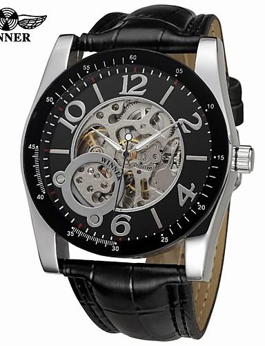 WINNER Męskie Nakręcanie automatyczne zegarek mechaniczny Zegarek na nadgarstek Hollow Grawerowanie Skóra Pasmo Vintage Na co dzień Do