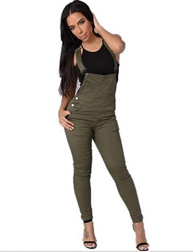 abordables Hauts pour Femmes-Femme Quotidien Chic de Rue A Bretelles Vert Blanc Combinaison-pantalon M L XL Taille haute Coton Sans Manches Automne / Salopette