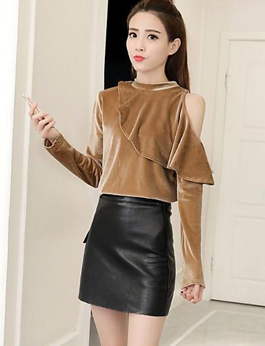 Damen Solide Retro Ausgehen T-shirt, Rundhalsausschnitt Langarm Polyester