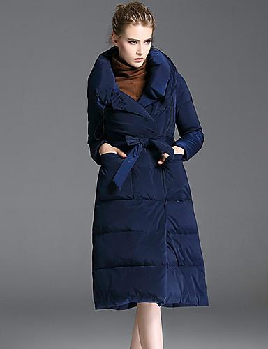 Damen Daunenjacke Mantel,Lang Retro Lässig/Alltäglich Solide-Polyester Langarm