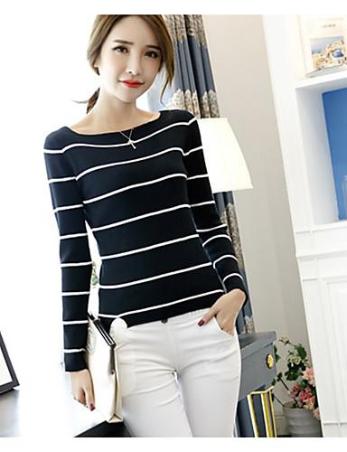 Damen Gestreift Baumwolle T-shirt, Quadratischer Ausschnitt / Herbst / Winter / mit feinen Streifen