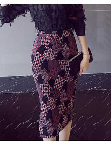 abordables Jupes-Femme Moulante Jupes - Géométrique Noir S M L