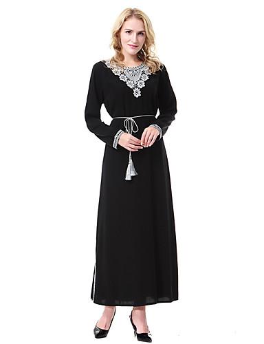 Damen Abaya Kleid-Lässig/Alltäglich Solide Rundhalsausschnitt Knielang Langarm Baumwolle Frühjahr, Herbst, Winter, Sommer Mittlere
