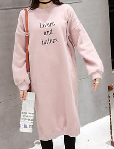 Damen Pullover Ausgehen Lässig/Alltäglich Solide Buchstabe Rundhalsausschnitt Baumwolle Langarm Herbst Winter