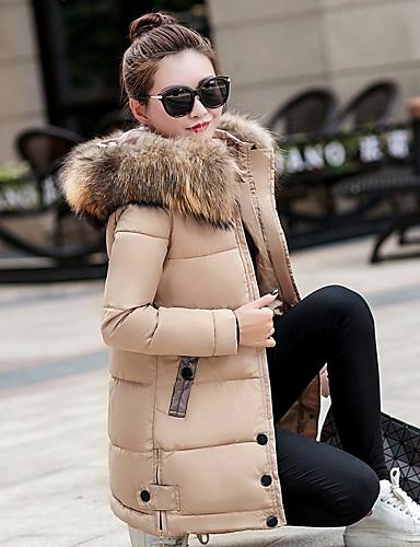 Damen Gefüttert Mantel Einfach Lässig/Alltäglich Solide-Kunst-Pelz Nylon Langarm