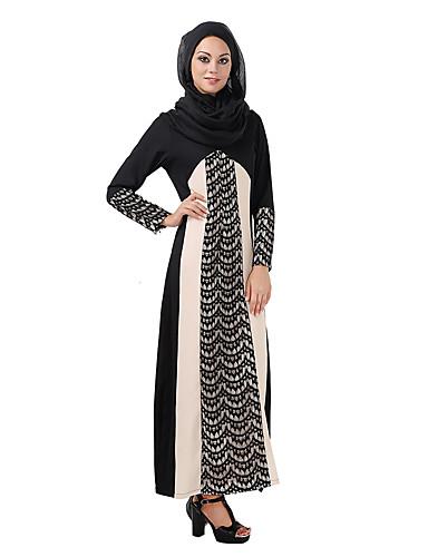 Damen Boho Kaftan Abaya Kleid Einfarbig Maxi V-Ausschnitt Hohe Hüfthöhe