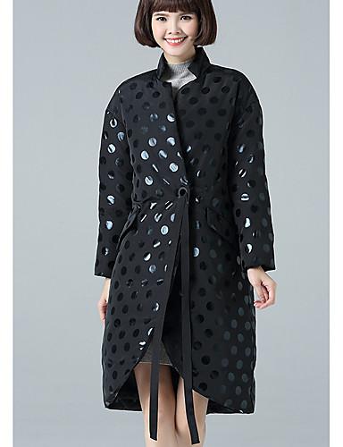 Damen Daunenjacke Mantel Retro Lässig/Alltäglich Solide-Polyester Langarm