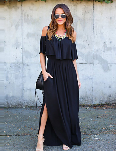 2826189a4a68 Women s Off Shoulder Daily Work Weekend Street chic Maxi Sheath Dress -  Solid Colored Black Boat Neck Cotton Blue Black Pink M L XL