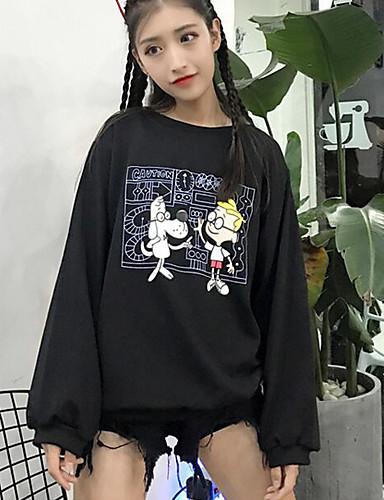Damen Pullover Ausgehen Lässig/Alltäglich Solide Druck Rundhalsausschnitt Mikro-elastisch Polyester Langarm Winter Herbst