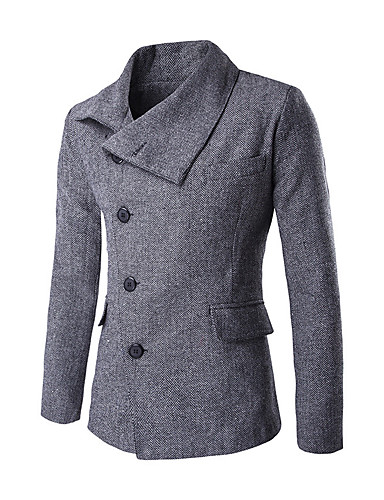 Herren Solide Einfach Lässig/Alltäglich Mantel Herbst Winter Standard Baumwolle Polyester