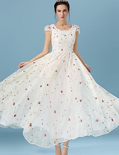 Damen Spitze Kleid-Alltag Ausgehen Blumen Rundhalsausschnitt Midi Langarm Polyester Ganzjährig Mittlere Hüfthöhe Mikro-elastisch Mittel