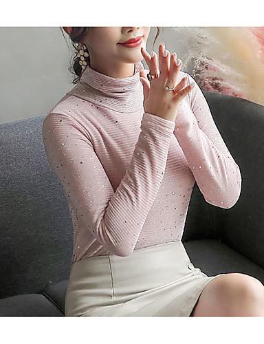 billige Topper til damer-Rullekrage T-skjorte Dame - Ensfarget Gatemote Dusty Rose Rosa / Høst / Vinter