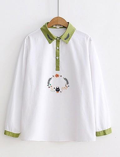Damen Einfarbig Stickerei Ausgehen Lässig/Alltäglich Hemd,Hemdkragen Langarm Baumwolle Leinen Dünn Mittel