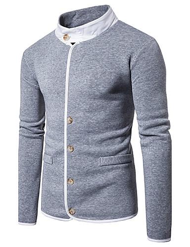 Męskie Długi rękaw Długi Bluzy z kapturem i bluzy - Jendolity kolor