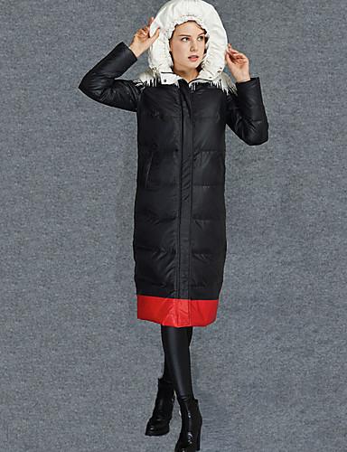 Damen Daunenjacke Mantel Retro Alltag Solide-Polyester Langarm