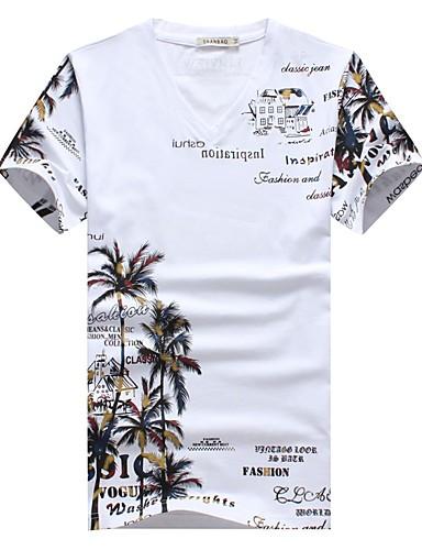 Rozmiar plus T-shirt Męskie Wzornictwo chińskie, Nadruk Weekend W serek Bawełna