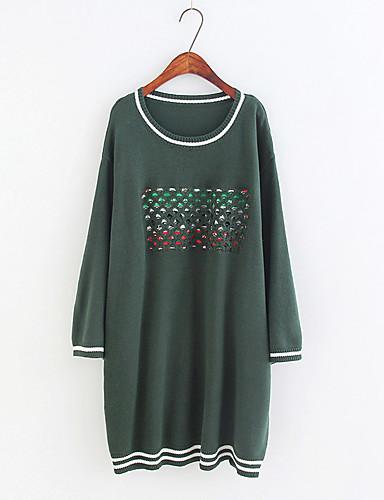 Damen Lang Pullover-Ausgehen Lässig/Alltäglich Solide Rundhalsausschnitt Langarm Baumwolle Andere Dünn Mittel Mikro-elastisch