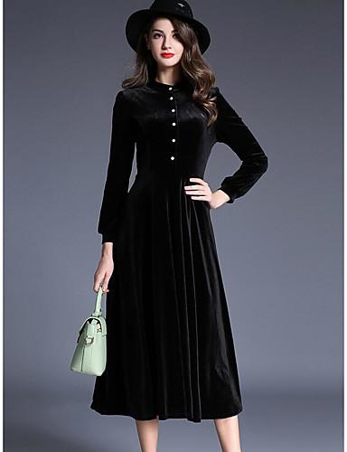 Damen Ausgehen Swing Maxi Kleid Solide Rundhalsausschnitt Langarm Baumwolle Winter Herbst