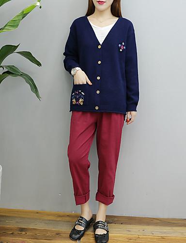 Damen Standard Strickjacke-Ausgehen Lässig/Alltäglich Solide V-Ausschnitt Langarm Kaninchen-Pelz Baumwolle Andere Dünn Mittel
