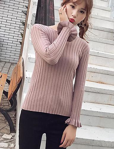 Damen Baumwolle Langarm Strickjacke - Solide / Herbst