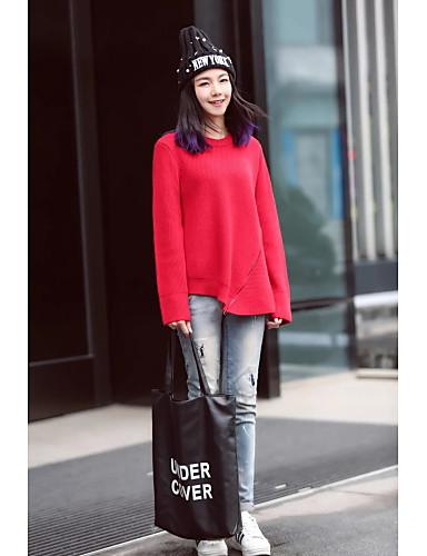 Damen Standard Pullover-Ausgehen Lässig/Alltäglich Solide Rundhalsausschnitt Langarm Baumwolle Andere Mittel Mikro-elastisch