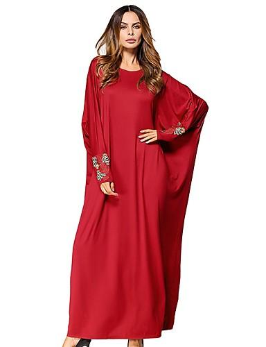 Damen Swing Kleid Solide Maxi Rot
