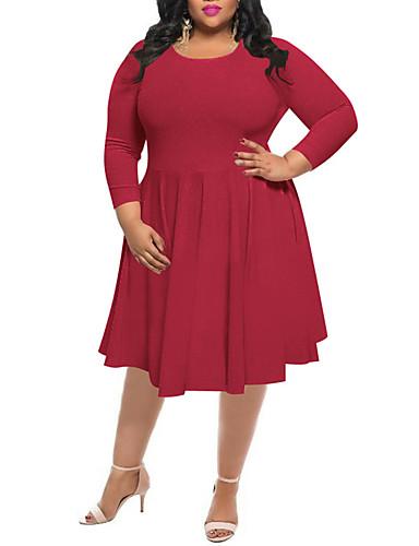 Damen Hülle Kleid-Lässig/Alltäglich Übergröße Einfach Street Schick Solide Rundhalsausschnitt Midi Langarm Polyester Hohe Hüfthöhe