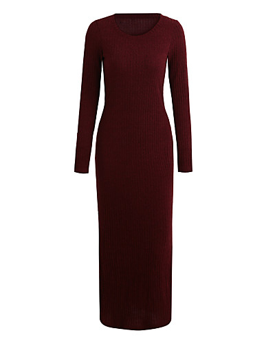 Damen Hülle Kleid Solide Maxi V-Ausschnitt Tiefe Hüfthöhe