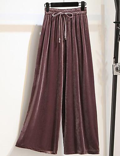 Damen Hose Mikro-elastisch Breites Bein Hose, Baumwolle Polyester Solide