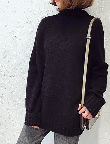 Damen Standard Pullover-Ausgehen Solide Rollkragen Langarm Baumwolle Mittel Mikro-elastisch