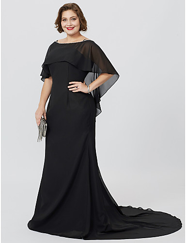 e8ff9cd1f341 Plus Size Mermaid   Trumpet Bateau Neck Floor Length Sweep   Brush Train  Chiffon Mother of the Bride Dress with Beading by LAN TING BRIDE®