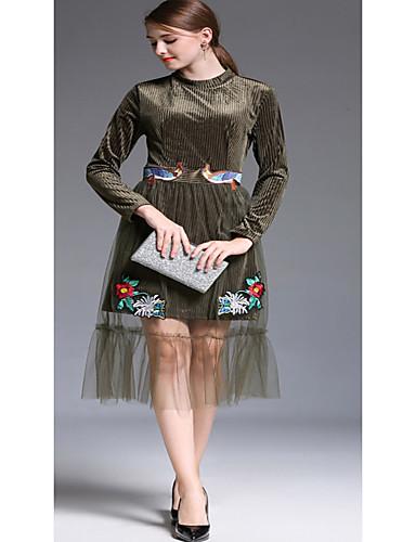 Damen Hülle Kleid-Ausgehen Solide Blumen Rundhalsausschnitt Midi Langarm Polyester Hohe Taillenlinie Mikro-elastisch Mittel