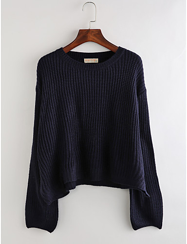 Damen Standard Pullover-Lässig/Alltäglich Festtage Einfach Solide Rundhalsausschnitt Langarm Acryl Herbst Winter Mittel Mikro-elastisch