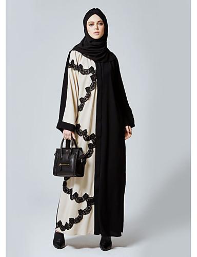 Damen Abaya Kleid Einfarbig Maxi