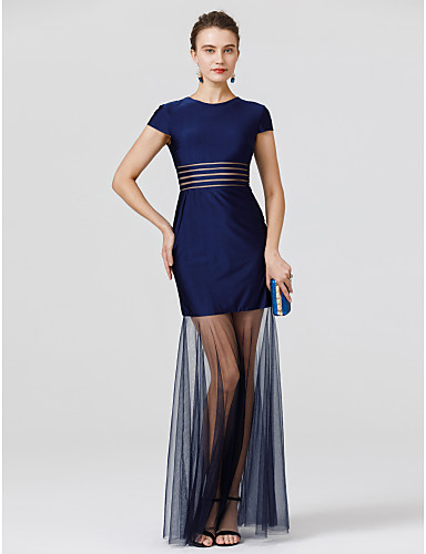 Mermaid / Trumpet Jewel Neck Floor Length Tulle / Jersey See Through Prom / Formal Evening Dress with Pleats by TS Couture®