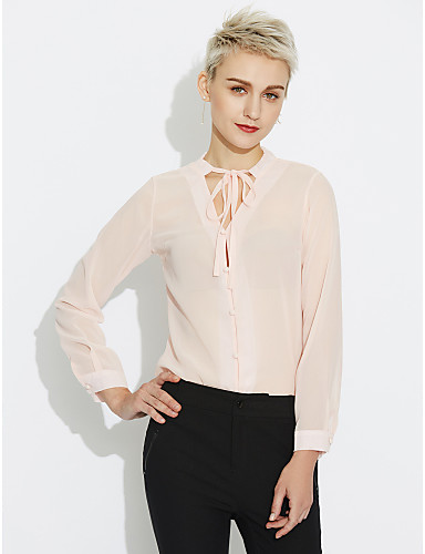 Women's Casual Blouse - Solid Colored Chiffon V Neck / Spring / Summer / Lace up