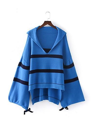 Damen Lang Pullover-Ausgehen Lässig/Alltäglich Solide Gestreift Einfarbig V-Ausschnitt Langarm Andere Mittel Mikro-elastisch